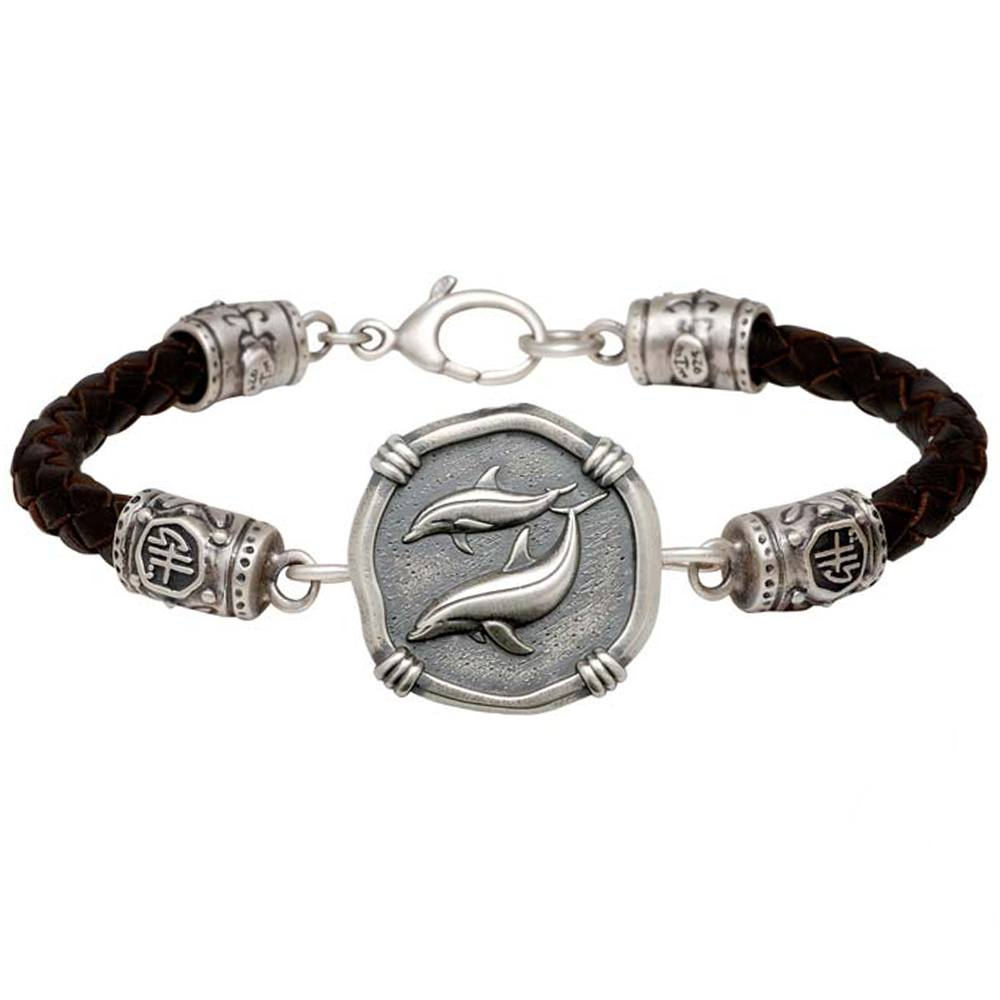 Guy Harvey Porpoise on Black Leather GH Signature Bracelet Relic Finish 25mm Sterling Silver