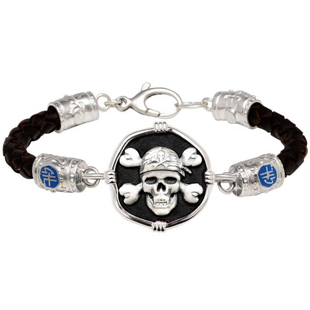 Guy Harvey Pirate on Black Leather GH Signature Bracelet Purple Enamel 25mm Sterling Silver