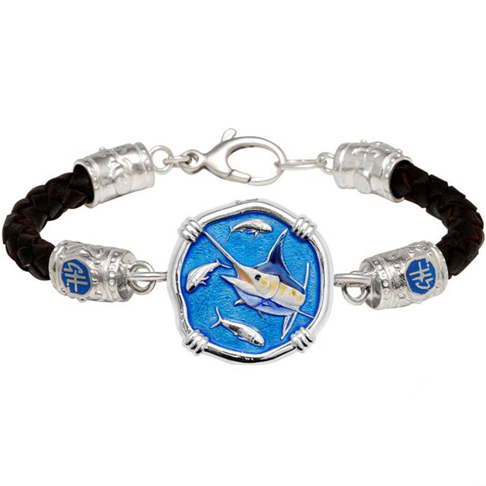 Guy Harvey Marlin on Black Leather GH Signature Bracelet Full Color Enamel 25mm Sterling Silver