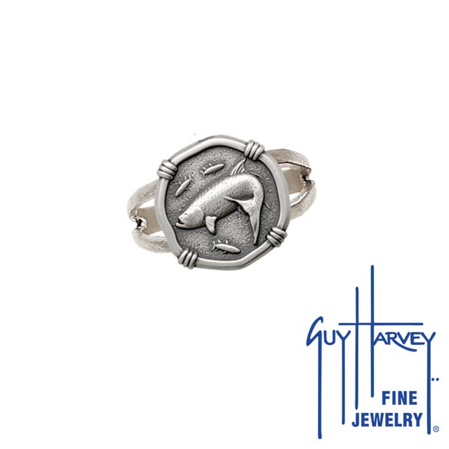 Guy Harvey Tarpon Ring Relic Finish 15mm Sterling Silver