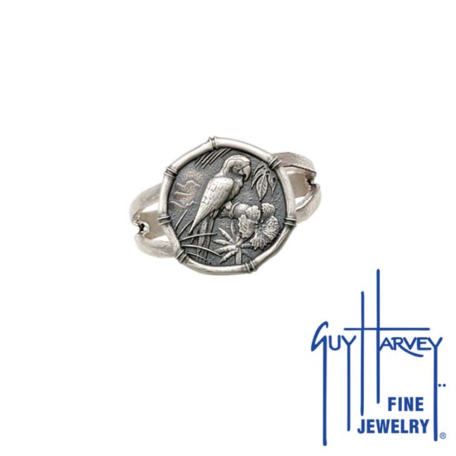 Guy Harvey Macaw Ring Relic Finish 15mm Sterling Silver