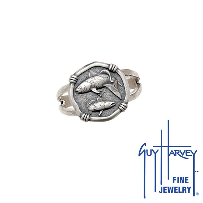 Guy Harvey Redfish & Trout Ring Relic Finish 15mm Sterling Silver