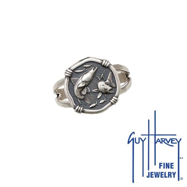 Guy Harvey Snook Ring Relic Finish 15mm Sterling Silver