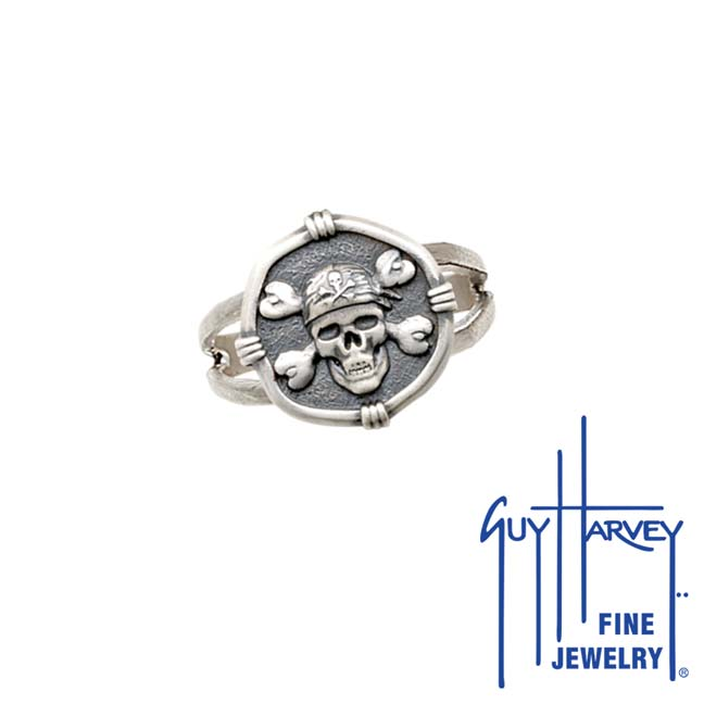 Guy Harvey Pirate Ring Relic Finish 15mm Sterling Silver