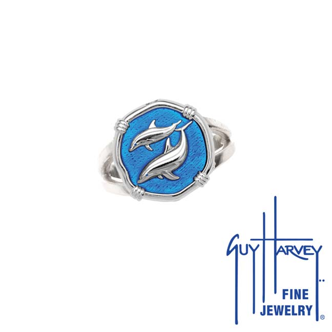 Guy Harvey Porpoise Ring Caribbean Blue Enamel Bright Finish 15mm Sterling Silver
