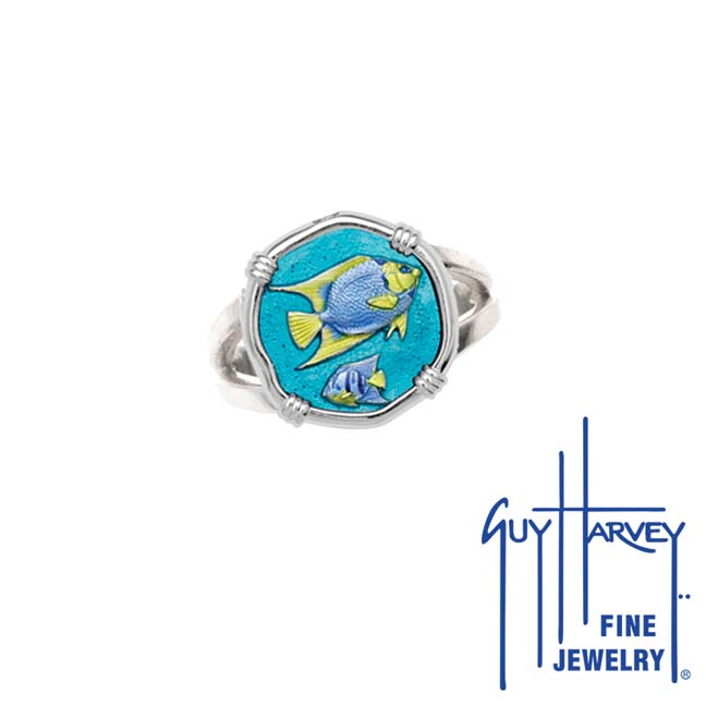 Guy Harvey Angelfish Ring Full Color Enamel Bright Finish 15mm Sterling Silver