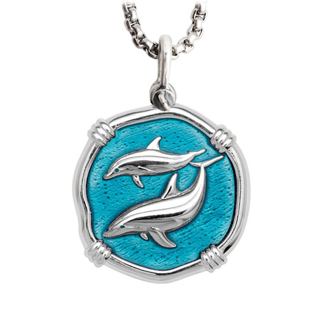 Guy Harvey Large Porpoise Cayman Green Enameled Sterling Silver Necklace - Stainless Steel Chain