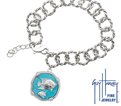 Guy Harvey Angelfish on Rope Link Bracelet Cayman Green Enamel Bright Finish 25mm Sterling Silver