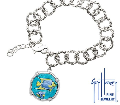 Guy Harvey Angelfish on Rope Link Bracelet Full Color Enamel Bright Finish 25mm Sterling Silver