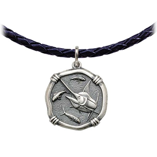 Guy Harvey Marlin Leather Necklace Relic Finish 25mm Sterling Silver